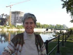 Jocelyne Bernier and the Lachine Canal. Grifftintown condos are seen in the background.